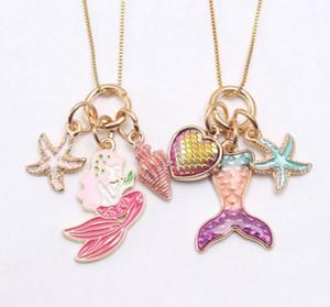 2 Farben Kinder Schmuck Halskette Mermaid Starfish Halskette Kinder Mädchen-langkettige Necklae für Partei Schmuck Geschenk
