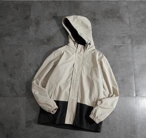2019 Nueva Primavera FN7719 Marca Hombres chaqueta informal sólido de color Bombardero capucha suelta rompevientos Escudo tendencia Hip Hop Escudo Streetwear al aire libre