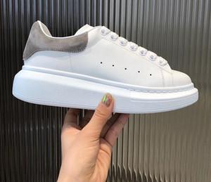 Homens Mulheres Sapatos casuais Moda Sneakers Lace-up Walking Shoes baratos Melhor Suede Grey Leather Platform Sneaker