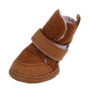 Warm Walking Cozy Pet Dog Shoes Boots Clothes Apparel 3# - Tan--Fit Paws (Approx.): 1 3 4'' x 1 1 2'' (L x W) Dog Apparel