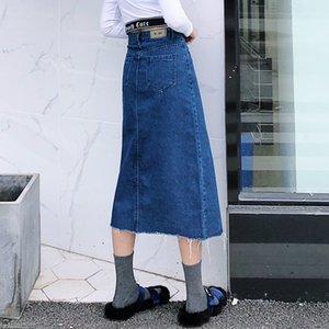 Denim de alta cintura de la falda 2019 nuevo invierno retro agua de lavado de moda largo de medio cuerpo delgado faldas