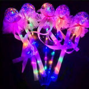 Детские игрушки из светодиодов воздушный шар волшебный свет палочки излучающие палку дети бантом светящийся ручной воздушный шар свадьба декра подарки на день святого валентина LJJA2936
