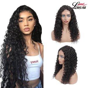 4x4 Malasia profunda de la onda del pelo humano pelucas de encaje frontal 8-20inch pelucas de colores naturales de Malasia peluca de pelo
