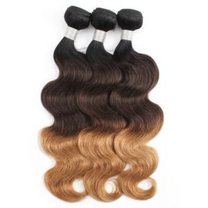 KISS HAIR T1B / 27.04 Brown Honey Blonde brasilianischen Ombre Menschenhaar-Webart Bundles seidige gerade Körper-Wellen-Ombre Inder Remy Haar
