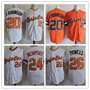 Mens Bal # 24 Rick Dempsey # 26 Boog Powell Jerseys costurou laranja branca # 20 Frank Robinson Jersey S-3XL