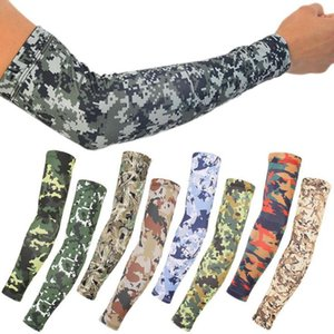 Sun Protection Arm Sleeves Camouflage Sunscreen Ice Silk Sleeve 24 Colors Outdoor Riding Fishing Camo Arm Sleeve LJJO7941N