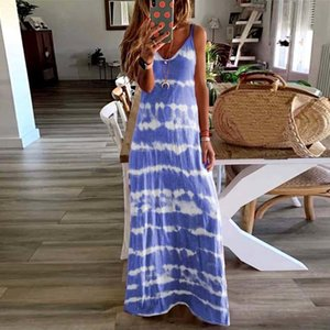 Women Stitching Color Ladies Casual Loose Sleeveless V Neck Tie Dye Long Vest Beach Sling Dress
