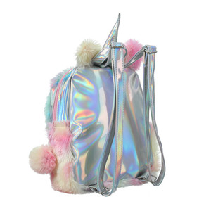 Unicorn backpack plush girls color matching student bag backpack travel bag unicorn 2 styles free shipping ST317