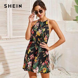 شين متعدد الألوان النباتية طباعة أكمام اللباس الرسن المرأة 2020 الصيف السيدات مستقيم قصير بوهو فساتين الزهور