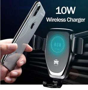 자동차 마운트 10W Qi 무선 충전기 아이폰 XS 맥스 X XR 8 빠른 무선 충전 자동차 휴대 전화 홀더 삼성 Note 9 S9
