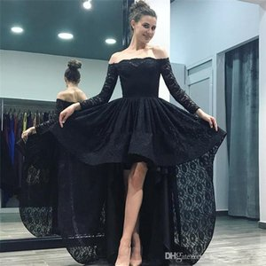 Black Lace High Low Prom Dresses Off Shoulders Long Sleeves Evening Dress Backless Cheap Cocktail Homecoming Gowns Custom Formal Dress
