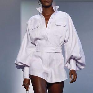 [MENKAY] Camisa blanca Pantalones cortos para mujeres Conjuntos de dos piezas Manga de linterna Blusa Pantalones cortos de cintura alta para mujer Trajes Ropa de moda de primavera
