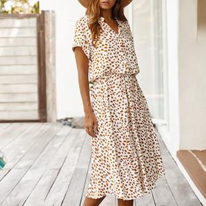 여자 여름 드레스 패션 폴카 도트 패널로 드레스 캐주얼 느슨한 짧은 소매 옷 깃 목 드레스 여성 의류