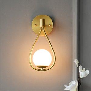 Todos cobre Lámparas de pared de la gotita habitaciones Nordic vivo Dormitorio de noche del aplique de la pared del LED Luces de Bola de cristal del restaurante pasillo e14 accesorios