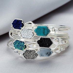 Fashion Druzy Drusy Bracelet Silver Gold Plated Popular Faux Stone Turquoise Bracelets For Women Lady Jewelry