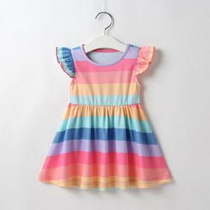 Moda Criança Baby Dress Tutu Partido Stripes Rainbow Girl Vestido Vestido de Verão 0-3Y