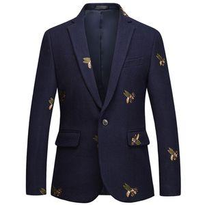 Bee ricamo Blazer Uomo Slim Fit Wedding Prom Blazers tweed di lana per gli uomini alla moda Giacca