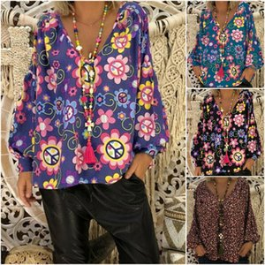 Summer Womens Floral Tops Ladies Long Sleeve Tops Plus Size 8-18