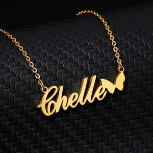 Personalisierte Namenskette mit Schmetterlings-Goldherz-Hals Stainlesss Stahl kundenspezifische Halskette für Frauen