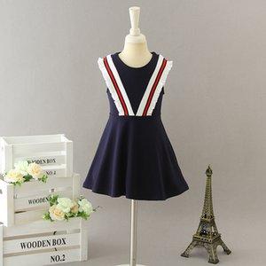 2020 été robe de princesse bande filles nouveaux enfants coton pompon style BCBG Ruffle robe gilet vêtements mignons enfants rouge marine rose C6211