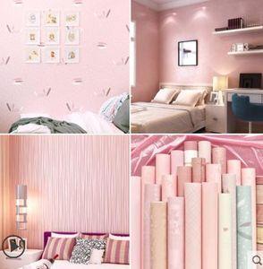 Üst düzey yatak sıcak su geçirmez duvar kağıdı yatak odası yurt kolejli kız pembe duvar kağıdı 3D stereo ev arka plan duvar