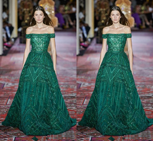 Elie Saab 2020 Couture Fashion Plus Size Off Shoulder Green Prom Dresses Manga corta Sweep Train Formal Ocasión Prom Party vestido