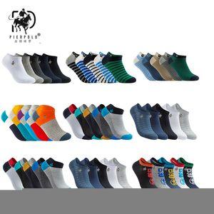 Yeni Moda Yaz Kısa Erkekler Ayak Bileği Çorap Erkek Rahat Renkli Saf Pamuk Çorap Adam Düşük Kesim Marka Polo Çorap (5 çift / grup) MX190719