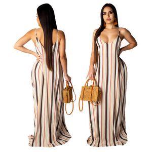 Free Ship 2019 Новый Полосатый печати женщин сексуальный ремень Макси платья Boho Стиль Свободный пляж платье без рукавов