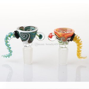 14mm Male Wig Wag Glass Bowl With Handle Heady Glass Bong Bowls Piece Smoking Accessories Unique Bowl Glass Bowl Piece For Bongs Rigs