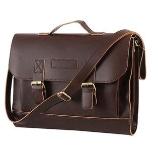 Messenger Bag maschio Laptop Bag di modo di affari Tracolle in pelle Crazy Horse PU uomini Uomini di Cartella di viaggio