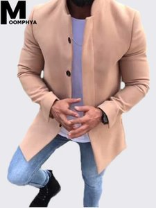 Moomphya 2019 hommes nouveaux arrivés long manteau de style coupe-vent couleur unie hommes trench-coat hommes manches longues veste pardessus outwear
