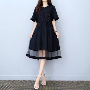 maxi Long Dress for women Summer Black Lace half Sleeve Crew Neck Make summer Ladies Loose Sexy For Dresses plus Size