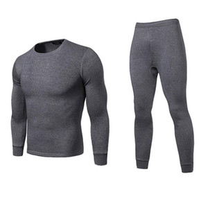 Hombres Invierno Cálido Long Johns Tallas grandes Color sólido Camiseta térmica de manga larga Top Conjunto de ropa interior