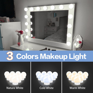 LED 12V maquillaje espejo Bombilla de Hollywood Vanity enciende la lámpara regulable sin escalonamiento pared 6 10 14Bulbs Kit para Tocador LED010