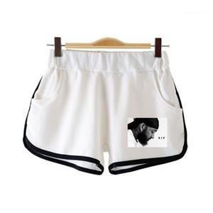 Hip Hop corto varones sueltos elástico de la cintura Pantalones cortos Ropa Pareja rapero Nipsey Hussle Print para mujer Ligera