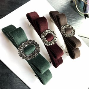 South Korea fashion hair accessories imported fabric Swan velvet bow circle Rhinestone Hair Clip horizontal clip top clip spring