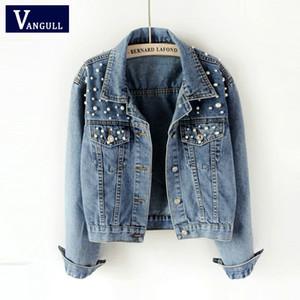 Vangull 2019 Frühling Herbst Neue Perle Perlen Crop Denim Jacken Weibliche Casual Jeans Bomberjacke Langarm Mantel Plus Größe 5Xl