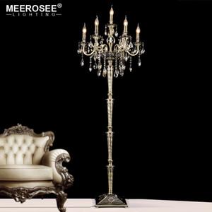 Andar de cristal Vintage Lamp Floor Stand Iluminação Luminária Cristal Candelabra pe lâmpada de alta qualidade Decoração para sala de estar