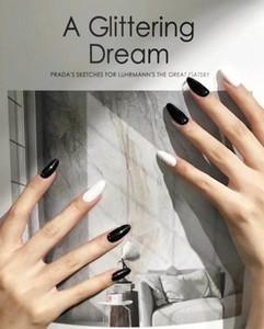 Fabrika Doğrudan Sahte Çiviler Biten Tırnak Etiketler Wear 28 Suyun adet Sivri Siyah Ve Beyaz Atlama Tırnak Nails Damlası