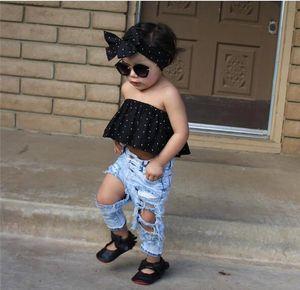 Neue Kinderkleidung gesetzten Sommer Explosion Modelle Mädchen eine Schulter Hemd + Loch Hosen dot + Kopfbedeckung dreiteilig