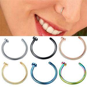 Trendy-Nasen-Ring-Körper-Piercing Schmucksache-Edelstahl U-förmige Nasen öffnen Band-Ringohrring-Bolzen-Fälschungs-Nasen-Piercing Ringe E22708
