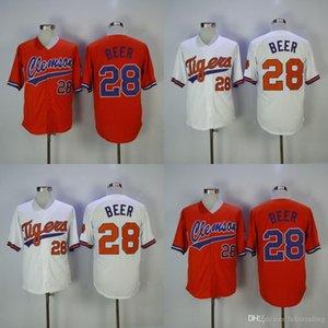 Jersey de beisebol Clemson # 28 Seth cerveja casa longe branco roxo laranja Seth cerveja costurada camisa de beisebol