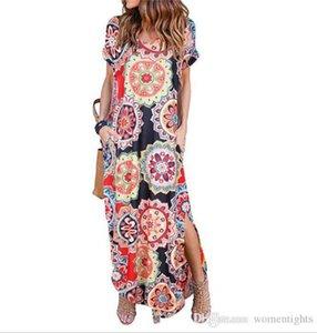 Womens Designer Flora Printed Dress Повседневная Половина Рукава V-Образным Вырезом Платья Мода Batwing Sleeve Платья Женская Одежда