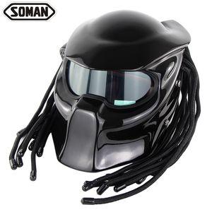 Alta qualidade SOMAN957 guerreiro dominador capacete da motocicleta personalidade Harley trançar montando capacete completo com luz laser