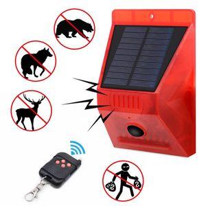 129dB lampes solaires 8 LED Lampes solaires alarmer Strobe à détecteur de mouvement télécommande étanche Lampe fort Détecteur pour la maison Jardin extérieur