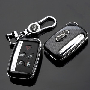 جاكوار XF XJ XE F-PACE من ألياف الكربون نمط السيارة عن بعد شل مفتاح فوب حالة تغطية مع سلسلة المفاتيح المعدنية