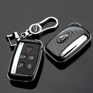 Jaguar XE XF XJ F-PACE Karbon Elyaf Stil Car Metal KeyChain ile Uzaktan Anahtar Shell Fob Kılıf Kapak