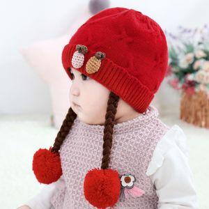 Gestrickte Winter-Neugeborene Mädchen Junge Hüte Furry Bälle Pompom Karikatur warmes Kind-Kind-Baby Netter Bonnet Cap für 1-3 Jahre 5 Farben