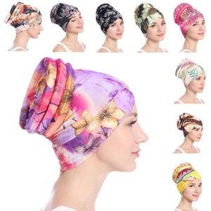 Turban Women Flower Printed Hair Loss Cover Cancer Chemo Cap Muslim Hat Headscarf Beanie Bonnet Headwear Islamic Fashion