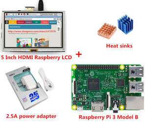 Freeshipping New Raspberry PI 3 Modelo B + 5 pulgadas HD-MI Raspberry LCD + Fregaderos de calor + 5V 2.5A Adaptador de corriente Enchufe de la UE para Raspberry Pi 3 Kit